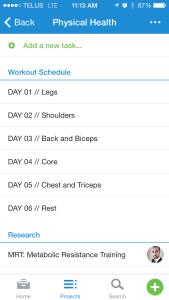 Asana - workout schedule